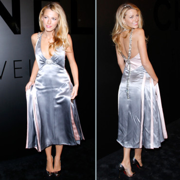robe de cocktail blake lively de couleur argent