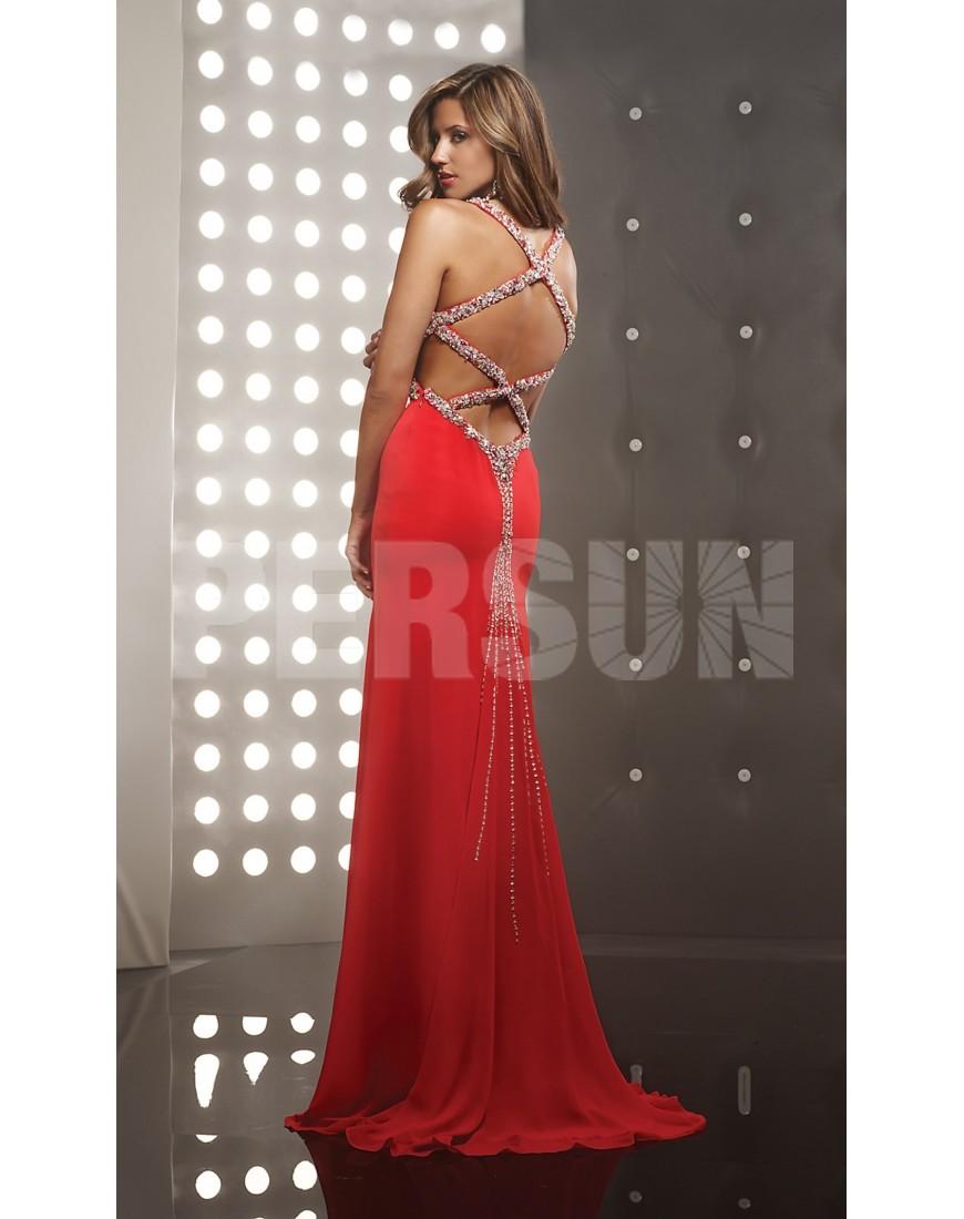 Robe de cocktail rouge à dos nu