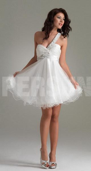 robe de cocktail blanche et courte