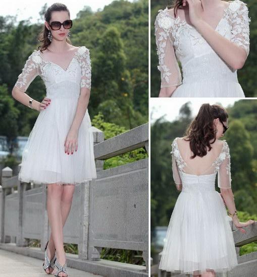 robe de cocktail blanche et courte sexy