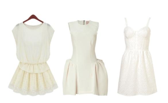 trois Robes cocktail ivoire ou blanche