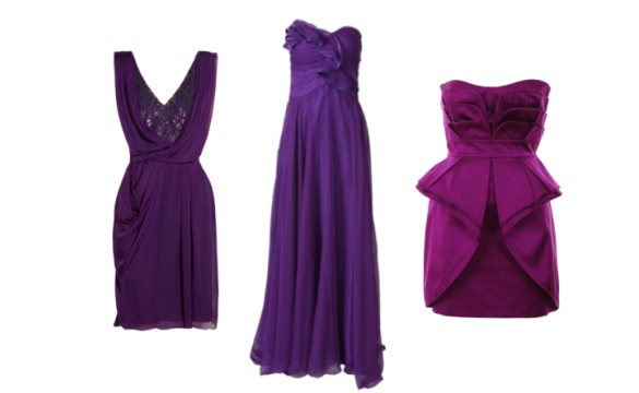 Robe de cocktail en violette et pourpre