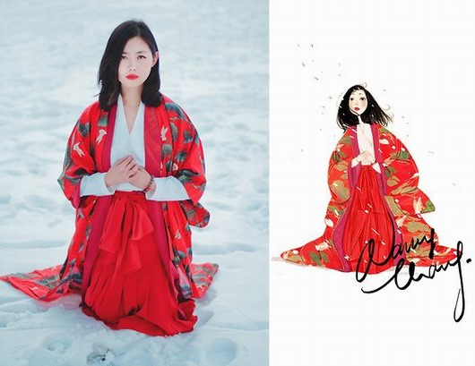tenue rouge de style vintage asiatique par Nancy ZHANG