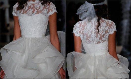 Robe de mariage de Reem Acra 2014 en dentelles légères