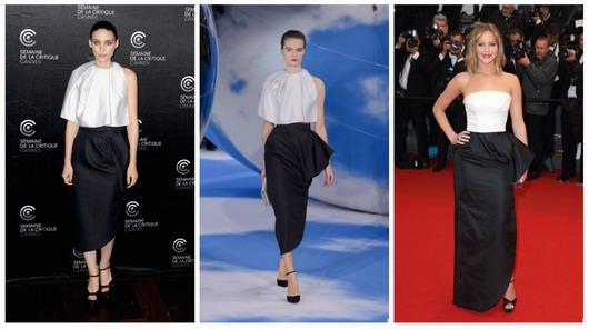 tenues bicolores similaires porté par Jennifer Lawrence et Rooney Mara--Cannes 2013
