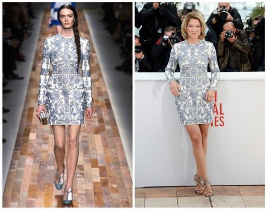 robe à motif de Valentino par Lea Seydoux au festival de Cannes 2013