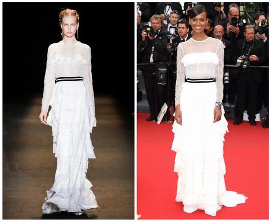robe longue blanche en dentelle de Alberta Ferretti par Liya Kebede