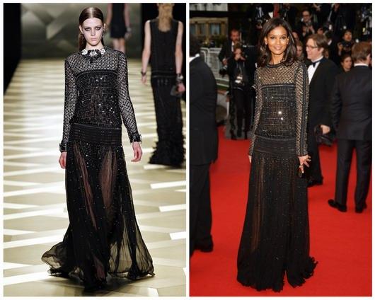 Liya Kebede porte une robes inspirée des années 20 brodée de strass de la collection du créateur Roberto Cavalli