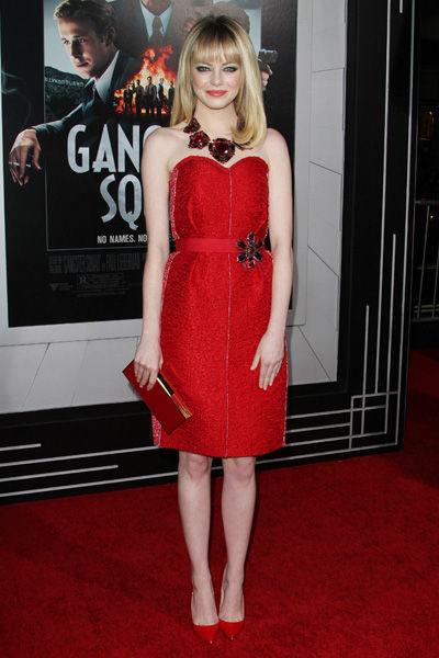 robe bustier rouge Lanvin portée par Emma Stone