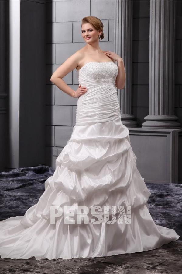 Robe de mariée grande taille bustier pailleté jupe ample ornée Ligne-A en taffetas avec appliques