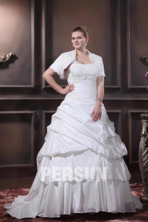 Robe de mariée grande taille princesse Ligne-A décolleté en cœur ruchée seule épaule en taffetas