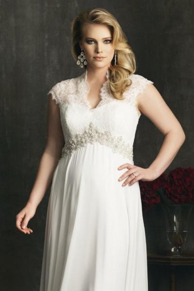 robe de mariage grande taille empire en dentelle