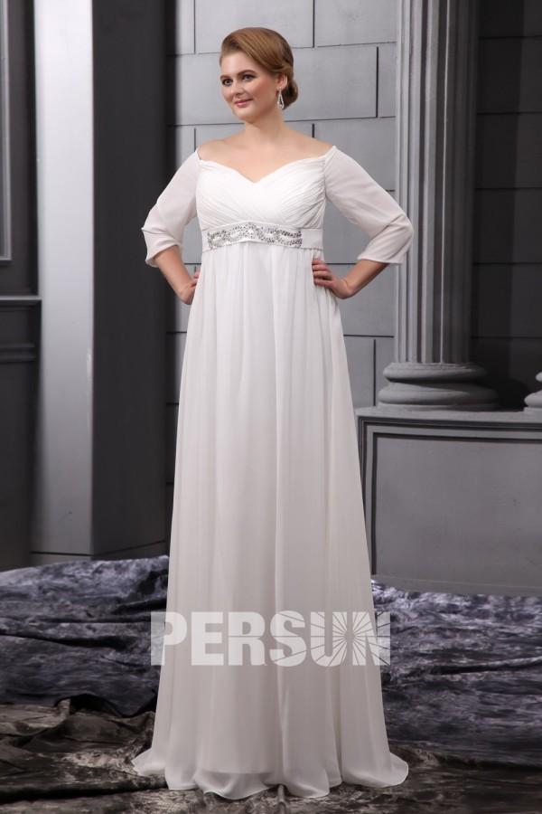robe de mariée grande taille vintage épaule dégagé manches sous coude à ligne-A ceinture ornée des strass en mousseline de soie