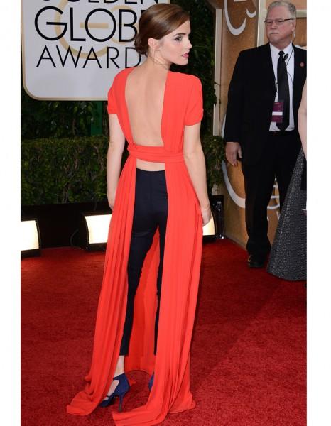 Le dos de la robe rouge de Emma Watson