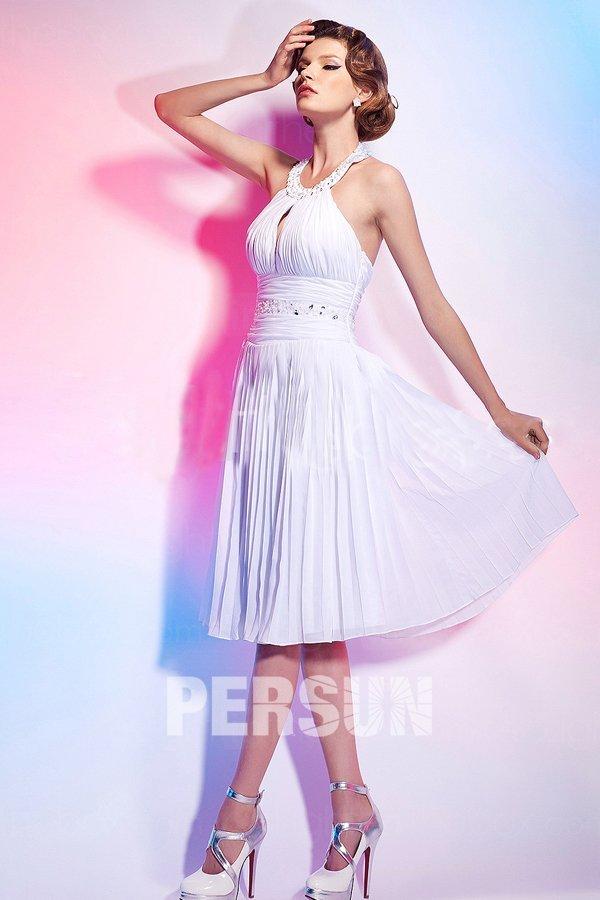 Marilyn Monroe robe de soirée ou cocktail blanche à col américain en mousseline