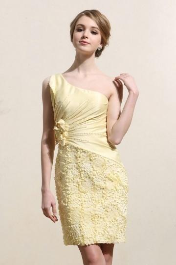 Robe de bal courte jaune asymétrique avec détails pétales & fleurs fait main