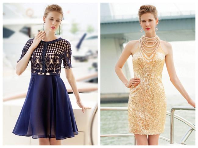 Petite robe bleu manches courtes vintage pour cocktail ou bal des finissantes