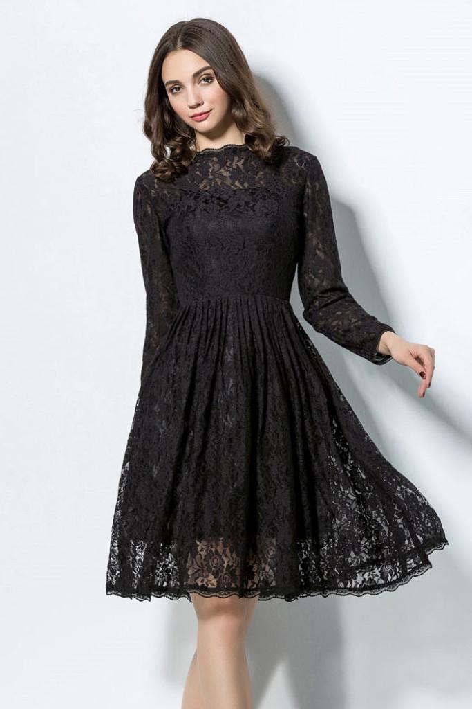 Robe de soiree noir avec manche