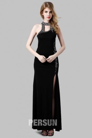 Noire robe longue fendue sexy