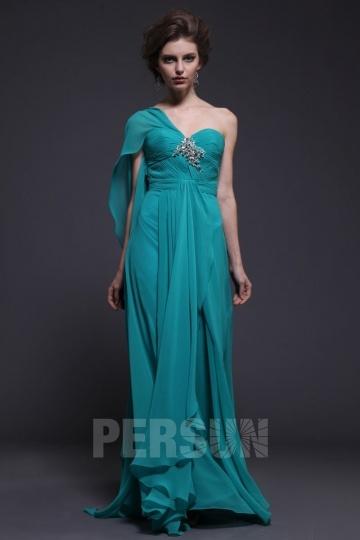 Elégante Robe de soirée vert paon longue bustier asymétrique