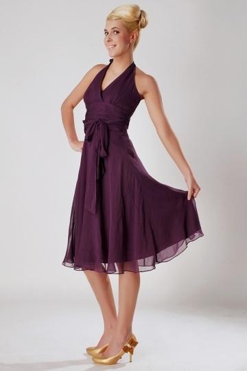 Robe pourpre courte pour demoiselles d'honneur col américain mousseline