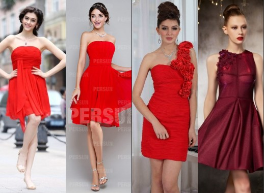 Brillante robe de bal rouge courte