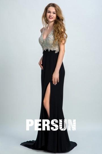 robe-bal-en-sequin-sexy-noire-fendue-dos-largement-decollete