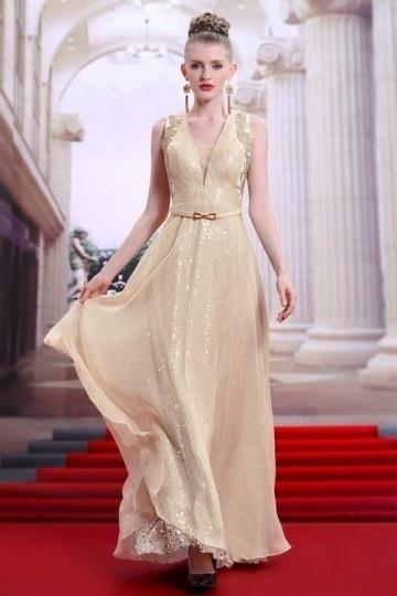 Robe de bal 2017 longue champagne sequins col v appliqué