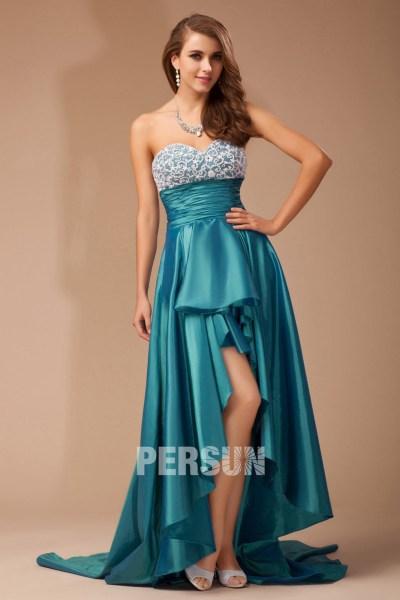 robe de bal bleu empire en taffetas courte devant longue derrière décolleté en cœur