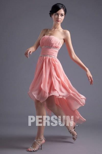 robe rose bustier courte devant longue derrière bustier ornée de bijoux mousseline