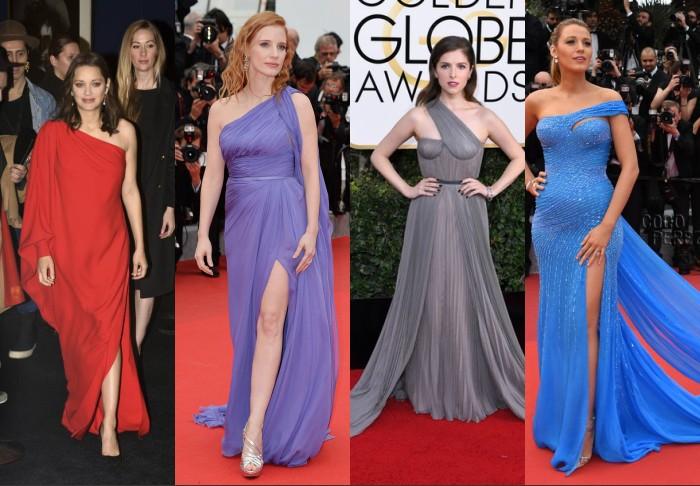 Robes à encolure asymétrique des célébrités sur tapis rouge