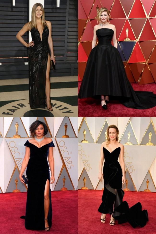 Jennifer Aniston, Kirsten Dunst,Taraji P. Henson et Brie Larson robe noire sexy oscar 2017