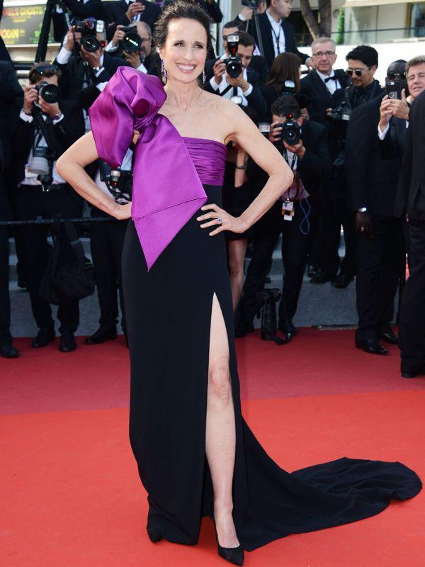 Robe de soirée bicolore noire - violette Andie MacDowell Cannes 2017