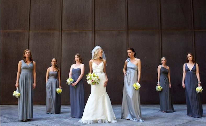 chic robes grises pour filles d'honneur