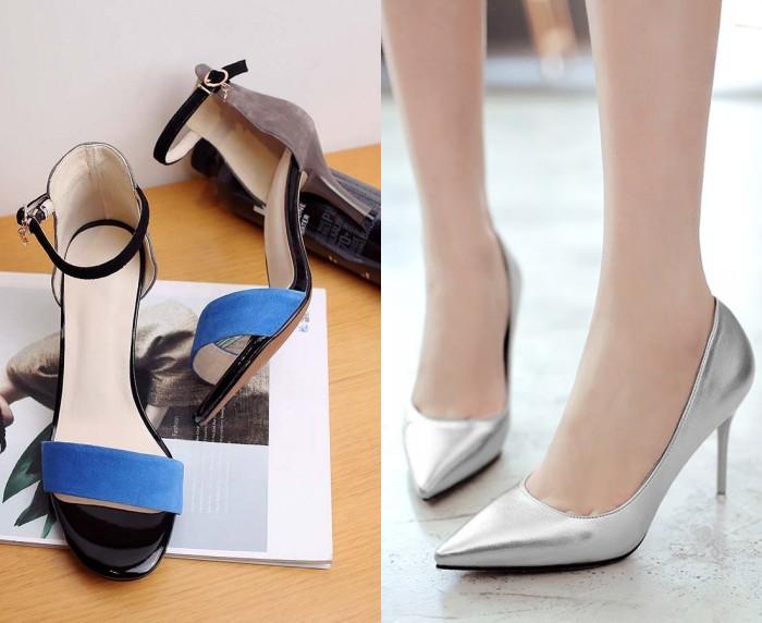 chic-sandale-femme-en-suede-bleu & escarpin-elegant-en-argente-pour-soiree