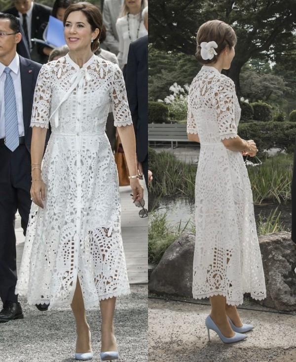 Mary robe dentelle guipure blanche avec manche courte