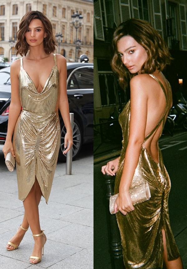 robe de cocktail dorée Emily ratajkowski