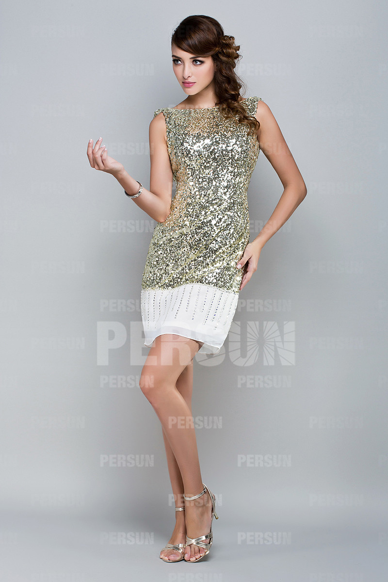 Mini robe paillettée à dos ouvert