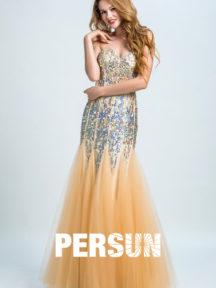 robe de soirée sexy bustier coeur orné de paillettes