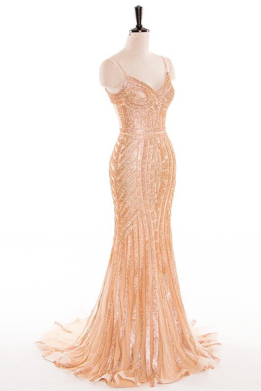 robe de soirée dorée en sequin sirène