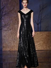 robe de soirée noire élégante longue col en V