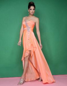 robe courte devant longue derrière orange asymétrique orné de strass