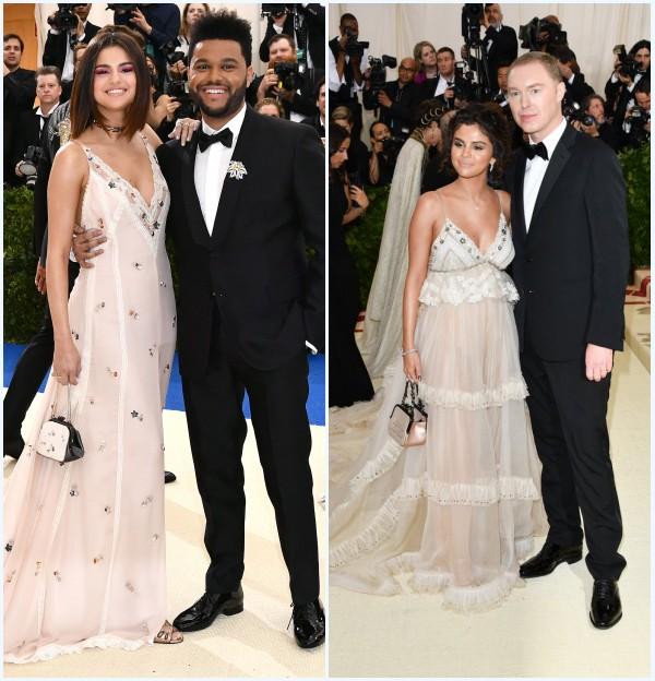 Selena Gomez en robe longue col en V au Met Gala