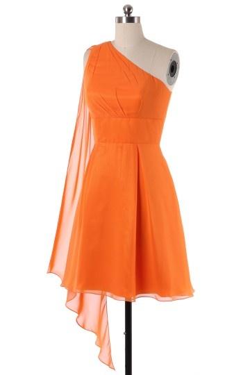 simple robe orange asymétrique pour demoiselle d'honneur
