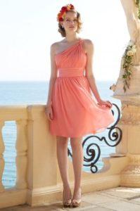 robe de cocktail mariage orange rose courte plissé