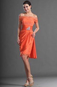 robe de cérémonie orange chic à épaule dénudée