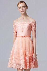robe princesse orange de soirée à épaule dénudée