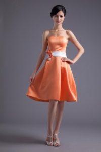 robe de soirée orange courte bustier vague pour mariage
