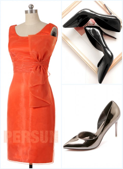 robe de cocktail orange courte orné de noeud papillon et escarpin à talon haut