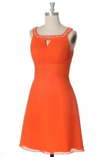 robe de soirée orange courte plissé col strassé
